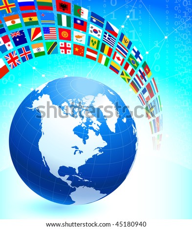 Globe with Many Flag Banner Original Vector Illustration
