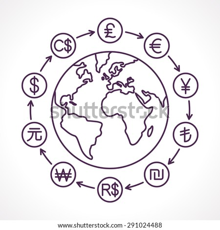 Globe with money cycle symbol. Various currencies signs. Banking, international trading, money exchange, financial system concept. Line vector illustration