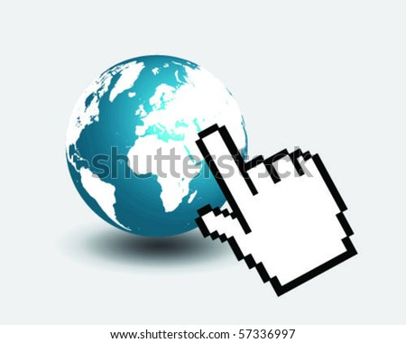 globe with mouse pointing cursor 2-vector