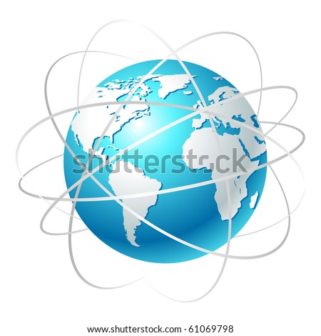 Globe with orbits. Clean vector illustration on white.