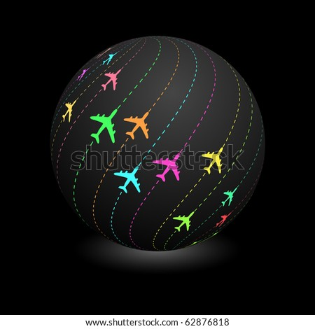 Globe with plane signs. Vector illustration.
