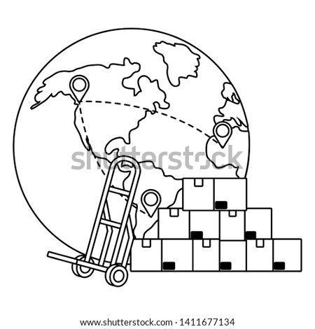 globe with pushcart in black and white