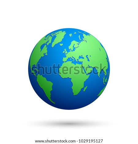 Globe with world map on white background. Vector illustration.