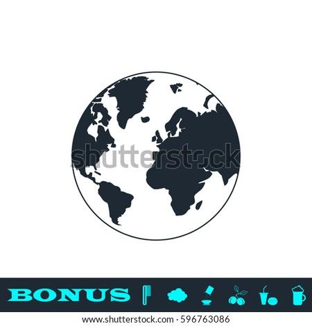 globe world icon flat black