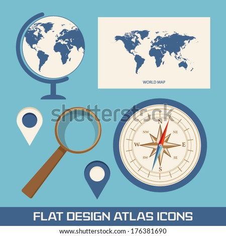 Vector images illustrations and cliparts globe world map globe world map magnifying glass compass and pointer flat design icons i gumiabroncs Image collections