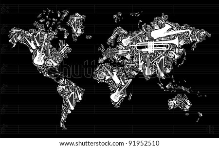 Globe World map silhouette made with musical instruments icon set in black background. Vector file available