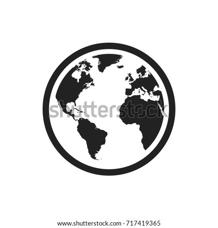 Globe world map vector icon. Round earth flat vector illustration. Planet business concept pictogram on white background.