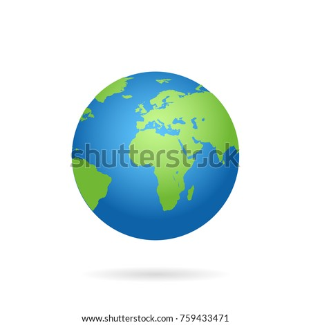 Globe world map with shadow on a white background