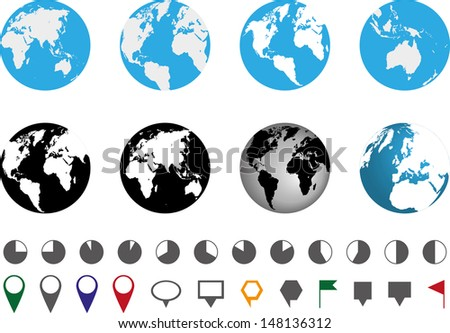 globes and location icons