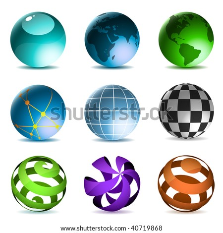 Globes and spheres icons set isolated on white background.