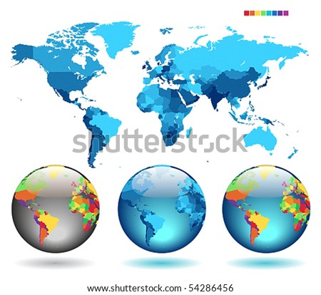 Globes on blue detailed map. Vector illustration.