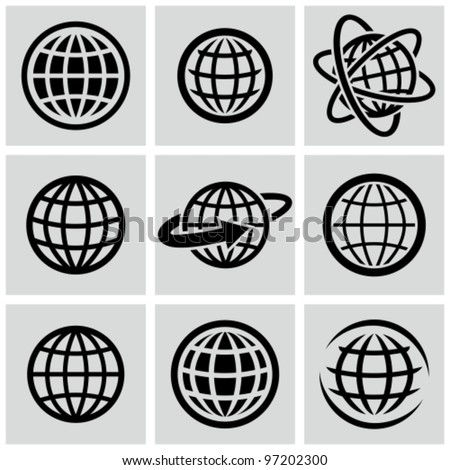 Globes vector black icons set.