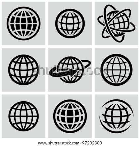 Globes - vector black icons set.