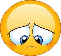 Gloomy sad emoji emoticon looking down