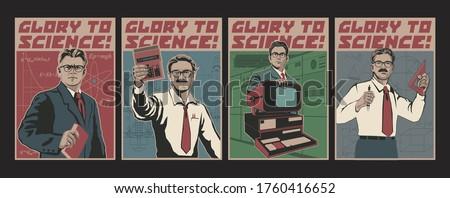 Glory to Science Posters, Retro Science Propaganda Placards Stylization, Physics, Maths, Engineering, Programming Stock photo ©