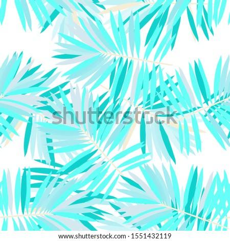 Gloss Monstera Foliage Vector Seamless Pattern. Azure Plant Jungle Print Miami Style. Turquoise Leaf Trendy Background. Gloss Monstera Foliage Pattern
