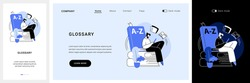 Glossary website UI kit. Website element, company web page, menu bar, reference source, terms and explanations, glossary, professional dictionary, UI landing and mobile app vector UI template.