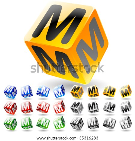 Glossy alphabet on a cubes. Letter m