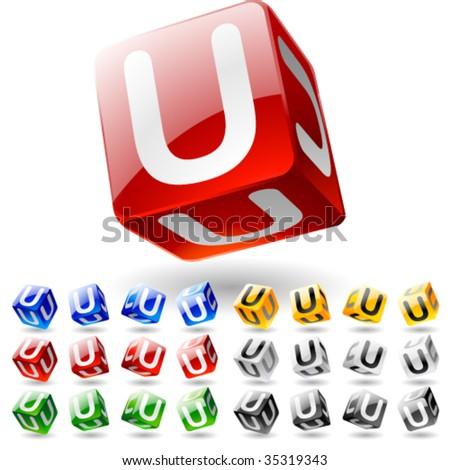 Glossy alphabet on a cubes. Letter u