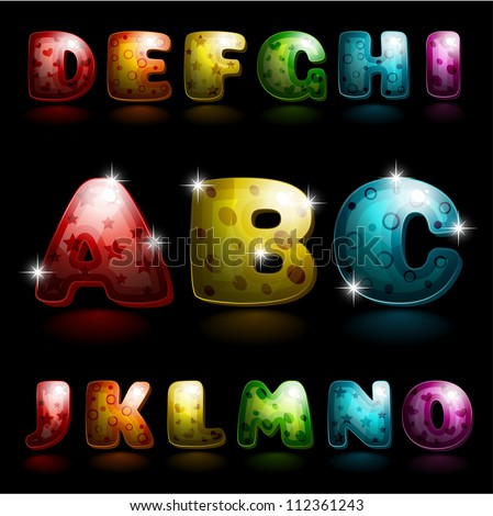 Glossy alphabet - shiny letters art on black background (global colors for easy color change)
