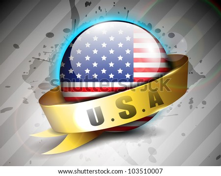 Glossy American Flag globe with golden ribbon on grey abstract background having shiny metallic finish for 4 July American Independence Day and other events. EPS 10.