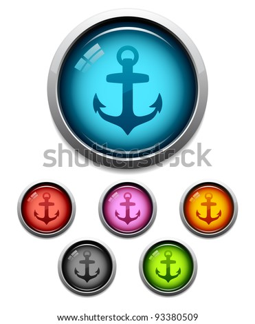 Glossy anchor button icon set in 6 colors