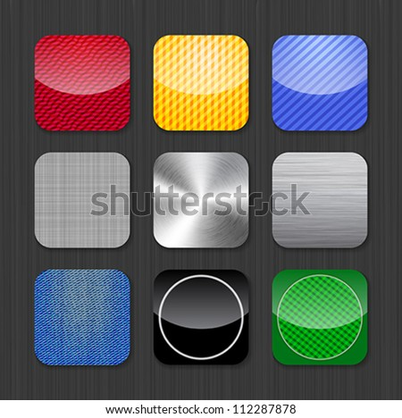 Glossy and metallic app icon templates on a dark background. Vector Illustration