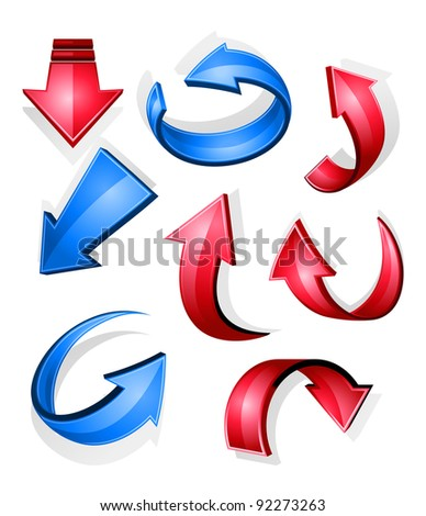 Glossy arrow icons and symbols for web design, such a logo. Jpeg version also available in gallery - stock vector
