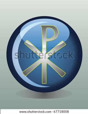 Glossy badge with Christian Chi Rho symbol