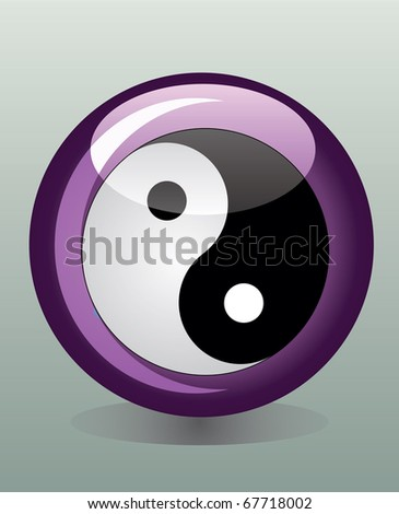 Glossy badge with yin yang symbol
