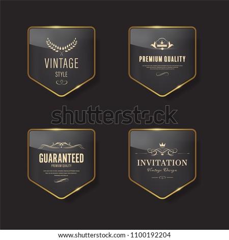 Glossy banner with gold metal frame. Vintage badges design.