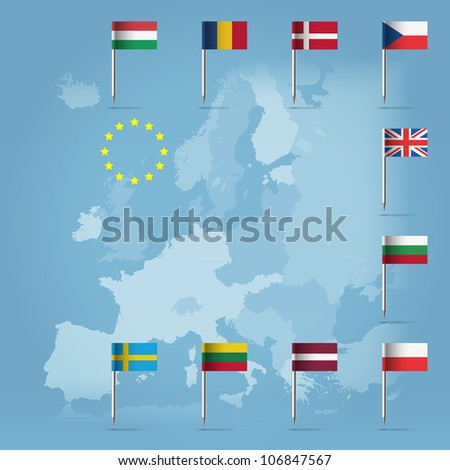 Glossy  beautiful pin flags of Bulgaria, Czech Republic, Poland, Denmark, UK, Lithuania, Latvia, Hungary, Romania and Sweden, hanging in round over light blue world map silhouette