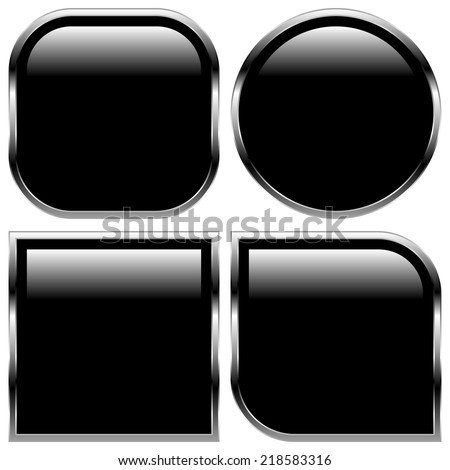 Glossy black shape, button backgrounds