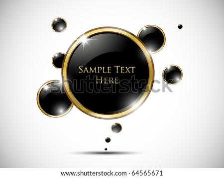 Glossy black speech bubble - stock vector