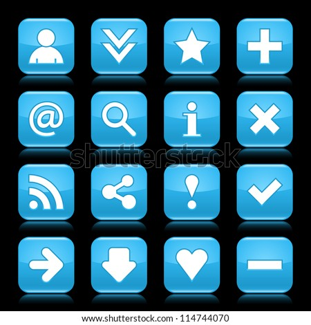 Glossy blue button with basic sign. Rounded square shape internet web icon with  color reflection on black background. This vector illustration saved 8 eps