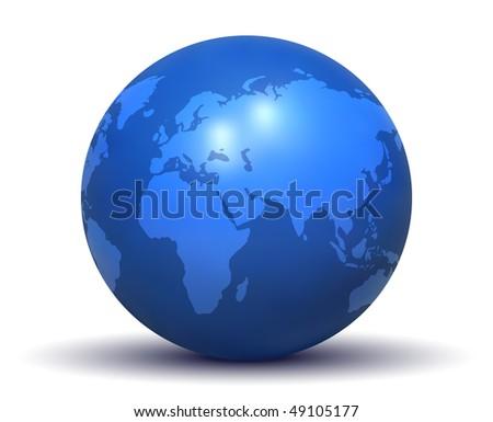 Glossy Blue Earth Globe (Vector)