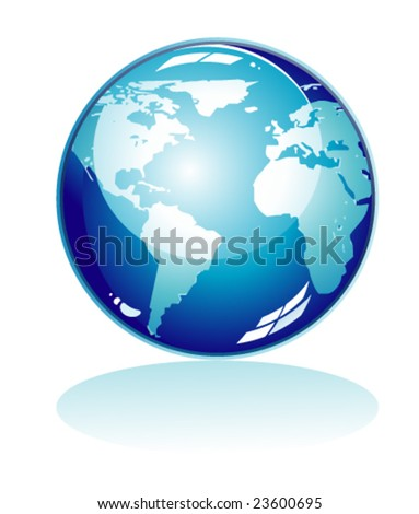 Glossy Blue world Icon with reflection