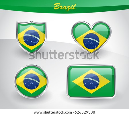 Glossy Brazil flag icon set with shield, heart, circle and rectangle shapes in silver frame. Vector illustration.