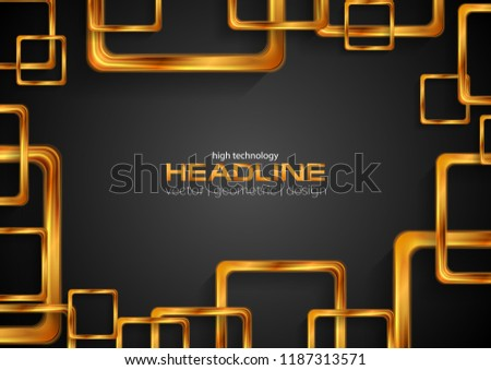 Glossy bronze squares on black abstract background. Technology vector design
