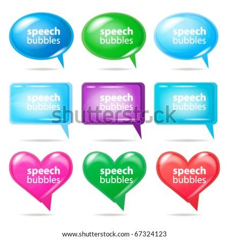 Glossy bubbles for speech, vector illustration.