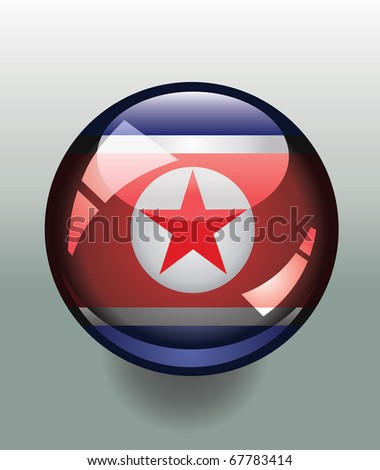 Glossy button badge with flag of North Korea