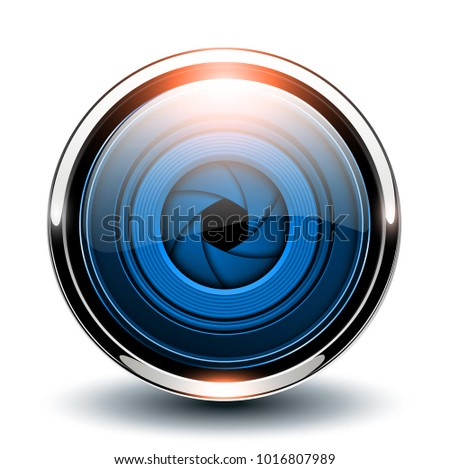 Glossy button blue with camera shutter inside, vector 3D metallic icon. #1016807989