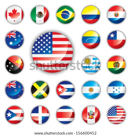 Shutterstock Glossy button flags - America and Oceania. 21 Vector icons. Original size of USA flag in down right corner.