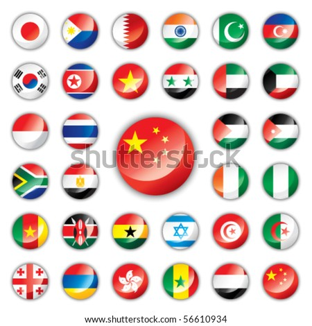 Glossy button flags - Asia & Africa. 32 Vector icons. Original size of China flag in down right corner. - stock vector