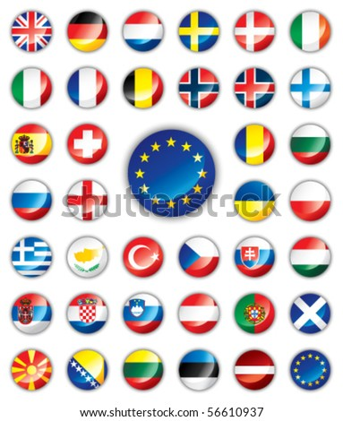 glossy button flags   europe