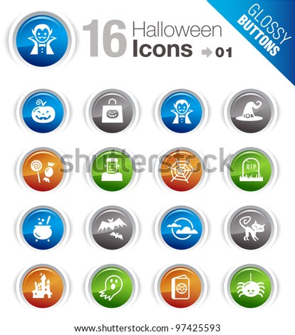 Glossy Buttons - Halloween Icons