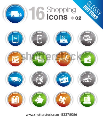 Glossy Buttons - Shopping icons