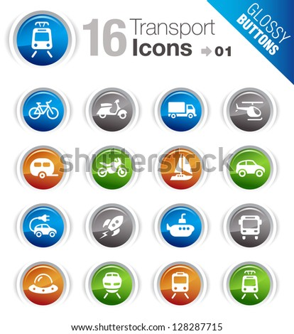 Glossy Buttons - Transportation icons