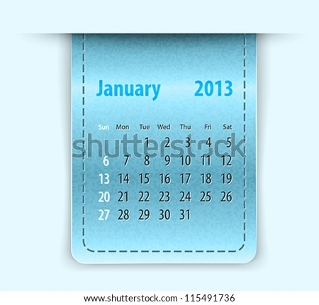 Glossy calendar for january 2013 on leather texture. Sundays first. Vector illustration