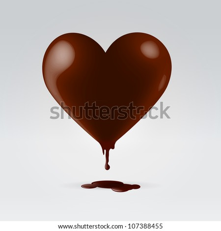 glossy chocolate brown heart